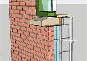 墙体及窗户构造节点SU(草图大师)模型