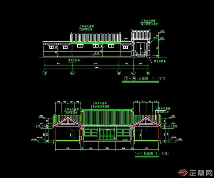 农村一层小四合院建筑楼设计cad方案含效果图(3)