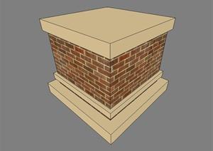 现代风格砖砌柱子基座设计SU(草图大师)模型