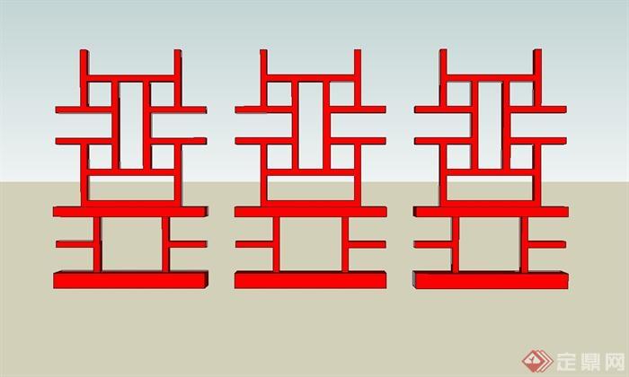 12种中式回纹样式图案设计SU模型(5)
