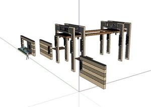 新古典风格廊架、景墙设计SU(草图大师)模型