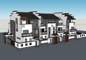 徽派风格联排别墅建筑楼设计SU(草图大师)模型