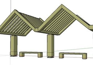 某东南亚风格花架式廊形凉亭设计SU(草图大师)模型