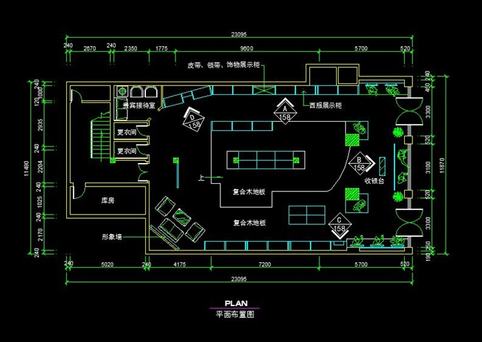 某现代风格室内空间服装店设计cad平面图