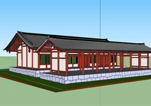 某古典中式风格旅游区一层古建设计SU(草图大师)模型
