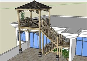 某现代风格木质楼梯及凉亭设计SU(草图大师)模型
