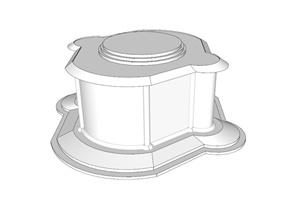 某现代风格柱子基座设计SU(草图大师)模型