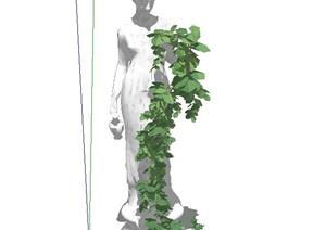 欧式雕塑盆栽吊兰设计SU(草图大师)模型