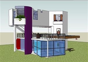 现代工作室建筑设计SU(草图大师)模型