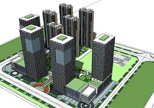 某精致现代风格综合建筑设计SU(草图大师)模型