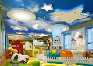 活泼可爱风早教中心室内设计3dmax模型