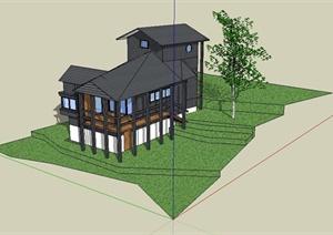 某精致小巧日式风格别墅建筑设计SU(草图大师)模型