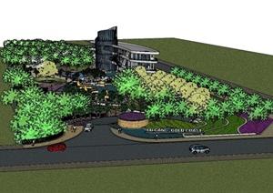 某精致现代风格会所景观规划设计SU(草图大师)模型