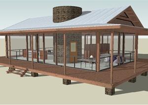 日式风格别墅建筑设计SU(草图大师)模型