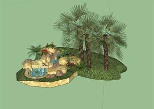现代风格自然石喷泉水池设计SU(草图大师)模型