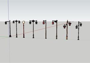 8种中式铁艺灯设计SU(草图大师)模型