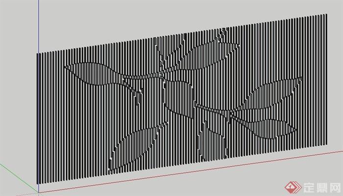 条形背景墙装饰墙Su模型(3)