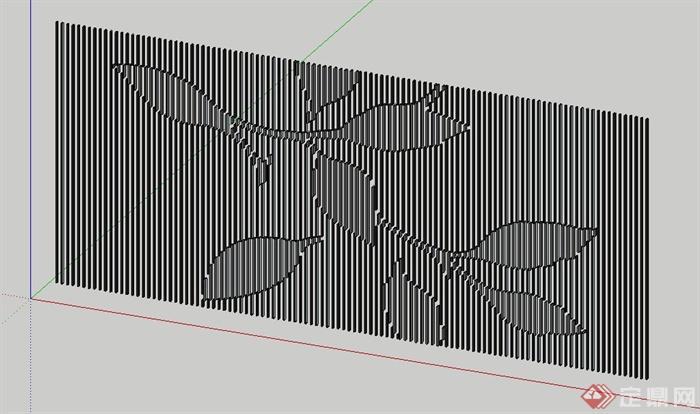 条形背景墙装饰墙Su模型(2)