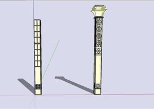 现代中式风格路灯SU(草图大师)模型设计