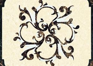 某现代中式风格大理石拼花图案设计CAD施工图含PSD效果图
