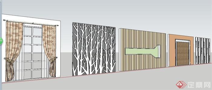 5款装修装饰墙设计su模型(1)