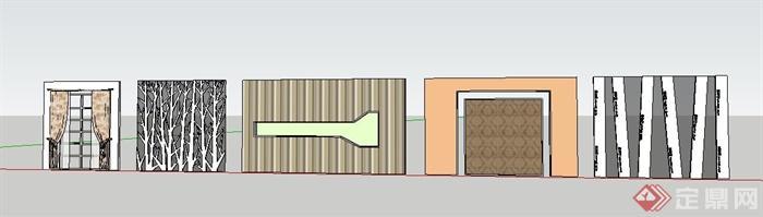 5款装修装饰墙设计su模型(2)