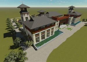 某东南亚风格会所建筑设计SU(草图大师)模型含JPG效果图
