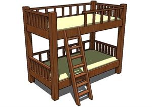 木质高低床设计SU(草图大师)模型