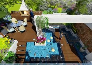 某现代风格详细精致别墅及庭院设计SU(草图大师)模型