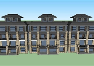 日式联排别墅建筑设计SU(草图大师)模型