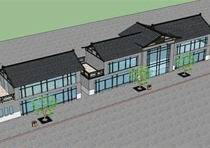 现代中式风格多层商业楼建筑设计SU(草图大师)模型