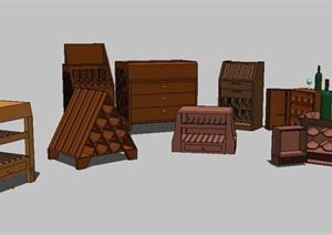 8款木质酒柜设计SU(草图大师)模型