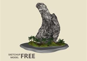 某园林景观自然景石设计SU(草图大师)模型