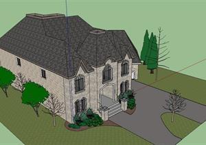 精致法式风格独栋别墅建筑设计SU(草图大师)模型