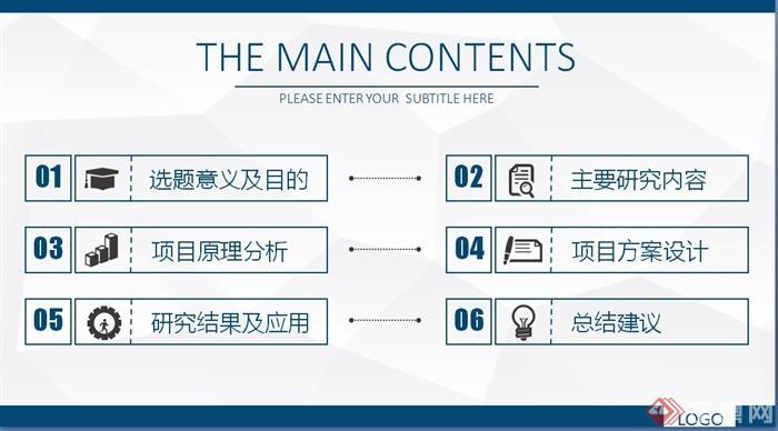 精品学术蓝艺术系学术毕业设计论文通用答辩PPT模板(3)