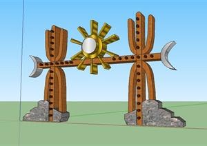 现代中式民族风格景观小品设计SU(草图大师)模型