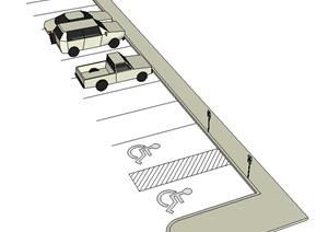 停车场、无障碍标志牌SU(草图大师)模型