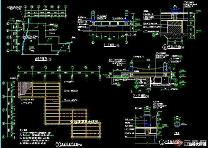 膜结构凉亭及栈桥施工图(2)