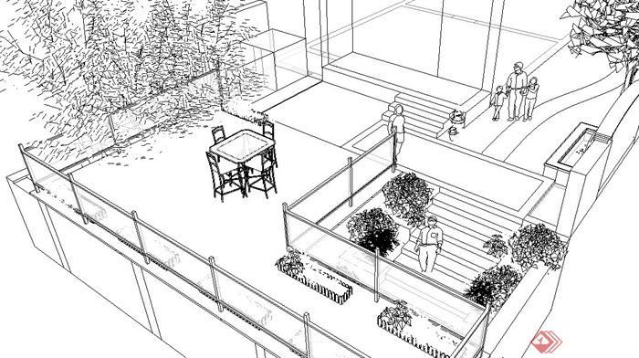 别墅庭院景观设计方案(jpg、su)(4)