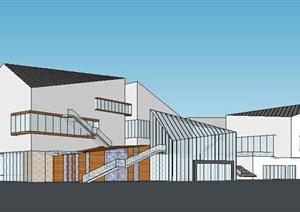 现代简约工作室办公楼建筑SU(草图大师)模型