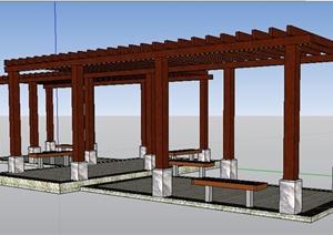 中式景墙、花园、廊架、凉亭SU(草图大师)模型