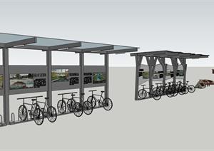 某现代风格自行车停放处及知识标志设计SU(草图大师)模型