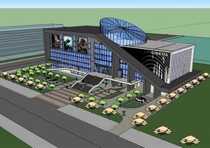 某现代风格大型影剧院建筑楼设计SU(草图大师)模型
