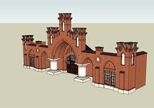 某欧式风格会所建筑构件门头及大门设计SU(草图大师)模型