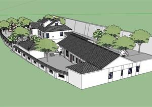 中国古典中式风格庭院住宅建筑设计SU(草图大师)模型