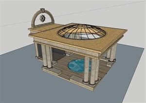 某欧式风格建筑构件会所入口门廊设计SU(草图大师)模型