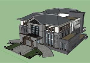 某精美古典中式风格会所建筑设计SU(草图大师)模型
