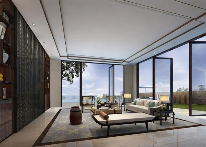 简约中式别墅室内装修设计施工图及效果图