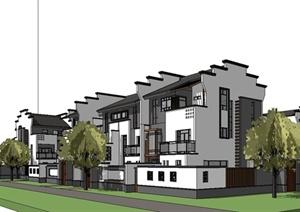某现代中式风格联排别墅区住宅建筑设计SU(草图大师)模型