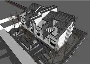 某精美现代中式风格联排别墅住宅建筑设计SU(草图大师)模型